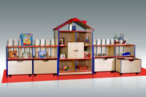 Металлические стеллажи для детского магазина игрушек